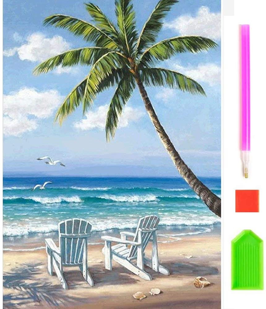 Diamond Painting Kits for Kids and Beginners Full Drill 10x12 Inch Square Diamond Cross Stitch Embroidery Arts Crafts Paintings Beach Rhinestones Dot Beads Gems Home Wall Art Decor 25x30cm
