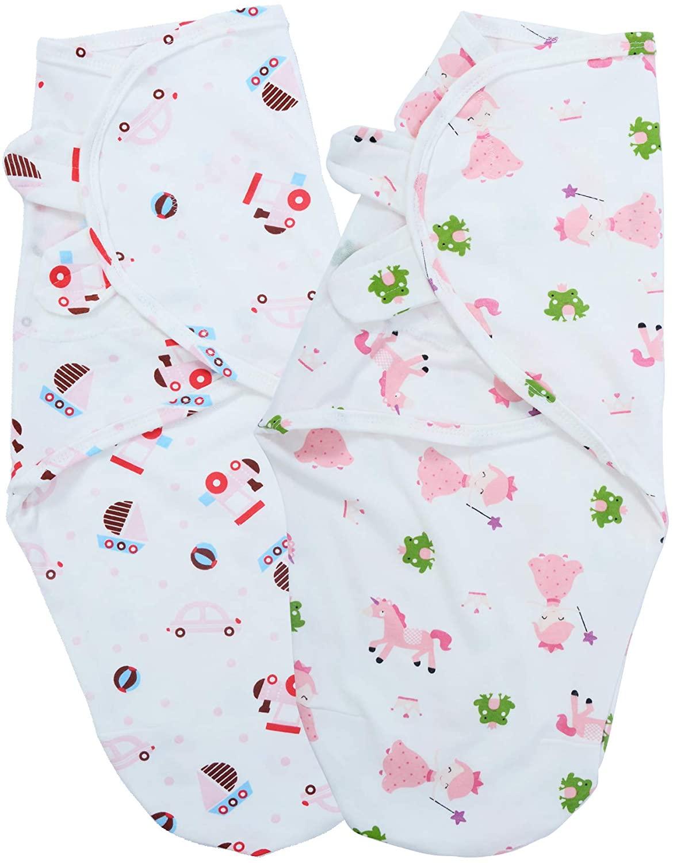 Umineux Baby Swaddle Pods,Adjustable Unisex Infant Swaddle Sack Set for Better Sleep,Fit Calms Startle Reflex,100% Cotton 0-3month, 2-Pack, Pink&Car/Hedgehog+Fairy/Pony