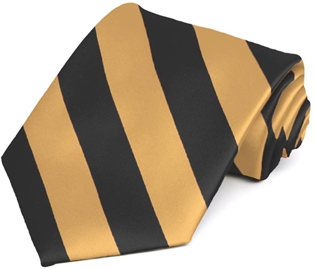 TieMart Black and Honey Gold Striped Tie
