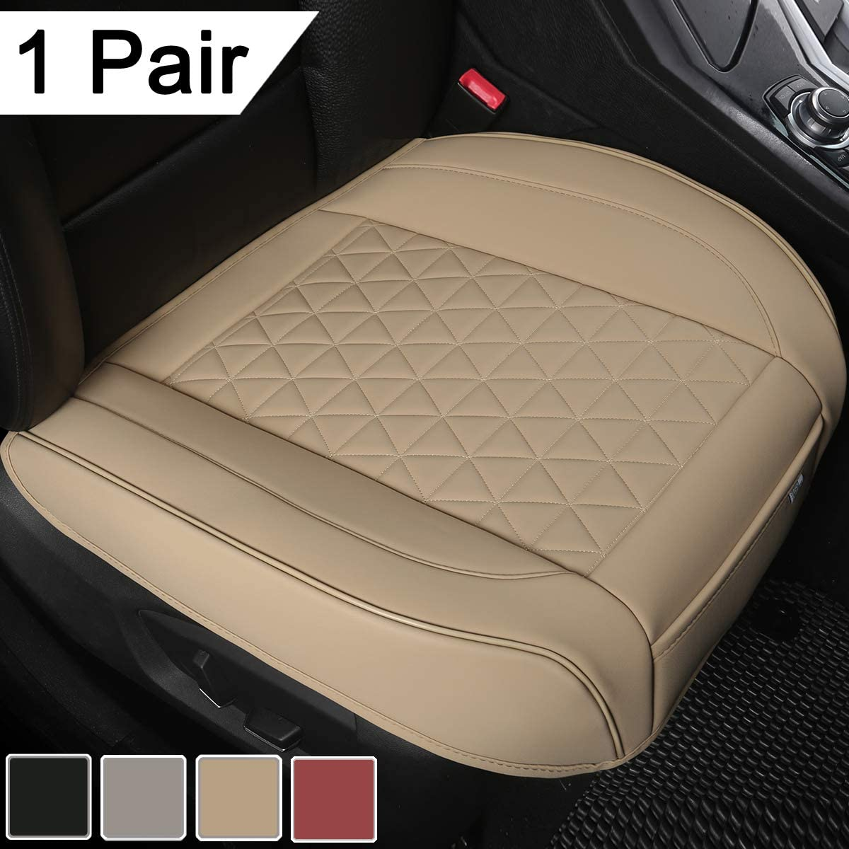 Black Panther 1 Pair Luxury PU Leather Car Seat Covers Protectors for Front Seat Bottoms, Compatible with 90% Vehicles (Sedan SUV Truck Minivan) - 21.26×20.86 Inches, Beige