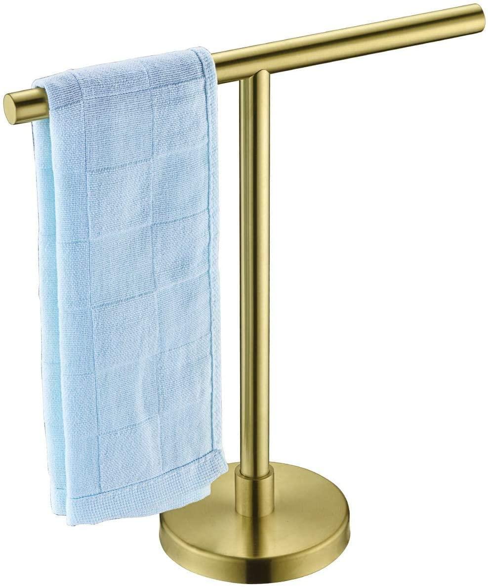Hoooh Modern Hand Towel Tree Rack for Bathroom Kitchen SUS 304 Stainless Steel T-Shape Freestanding Countertop Towel Holder, Brushed Gold, HTT100-BG