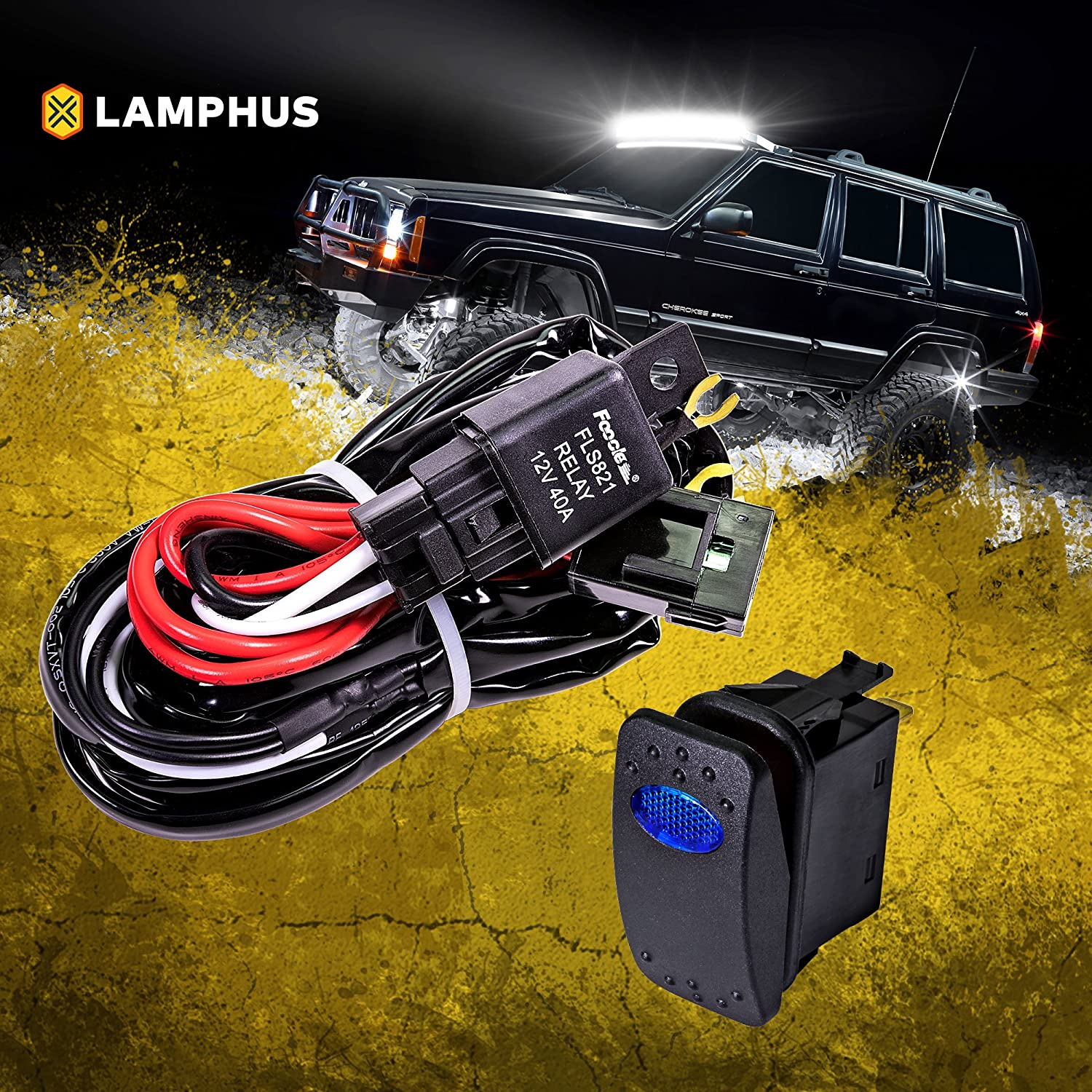 LAMPHUS 12V 40A Off Road LED Light Bar Relay Wiring Harness Kit for ATV - BLUE ON/OFF Switch