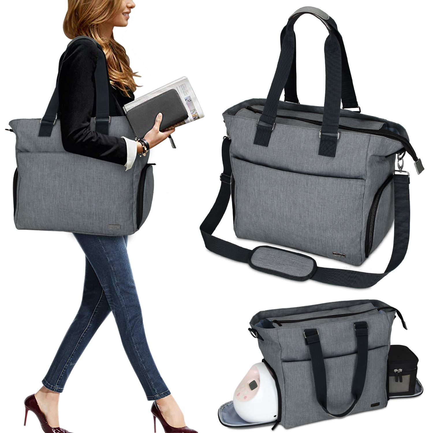 Luxja Breast Pump Tote with Pockets for Laptop and Cooler Bag, Breast Pump Bag for Working Mothers (Fits Most Major Breast Pump), Dark Gray