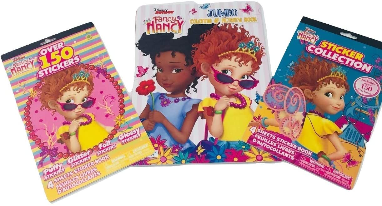 Fancy Nancy Gift Set Bundle with Fancy Nancy Coloring Book and (2) Fancy Nancy Sticker Books with Over 300 Stickers