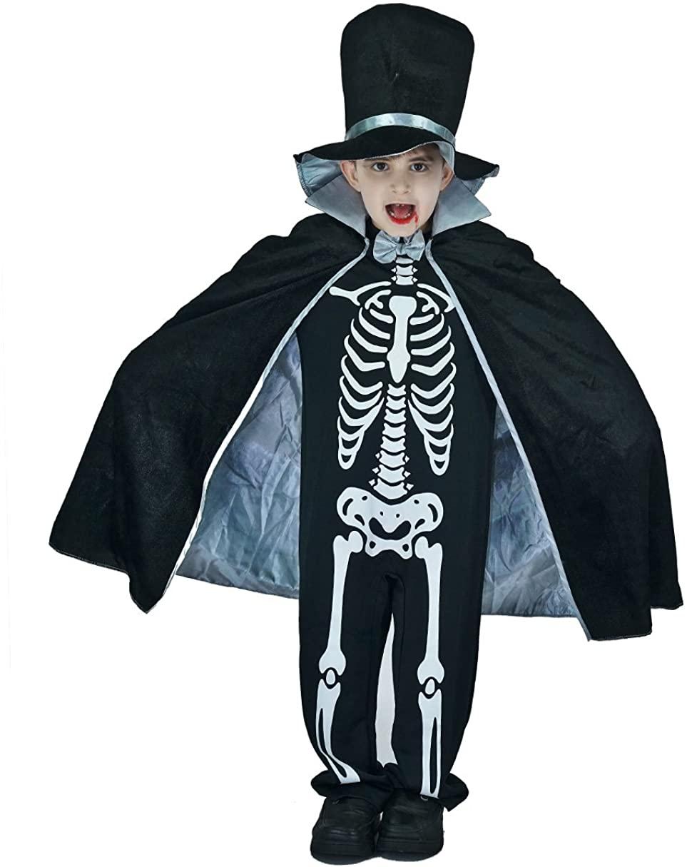 flatwhite Chlidren Deluxe Skeleton Vampire Costumes (10-12Y) White,Black