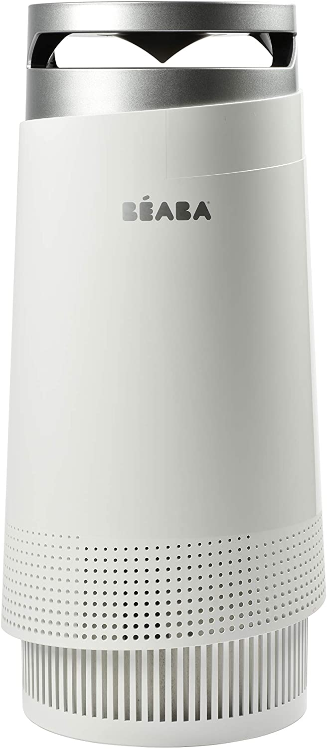 Beaba Air Purifier for Baby Nursery, 4 Step Filtration System Includes Pre-Filter, True HEPA Filter, Carbon Filter, Anti-Microbial Layer, Removes VOCs, Odor, Dust, Mold, Dander, Includes Night Light