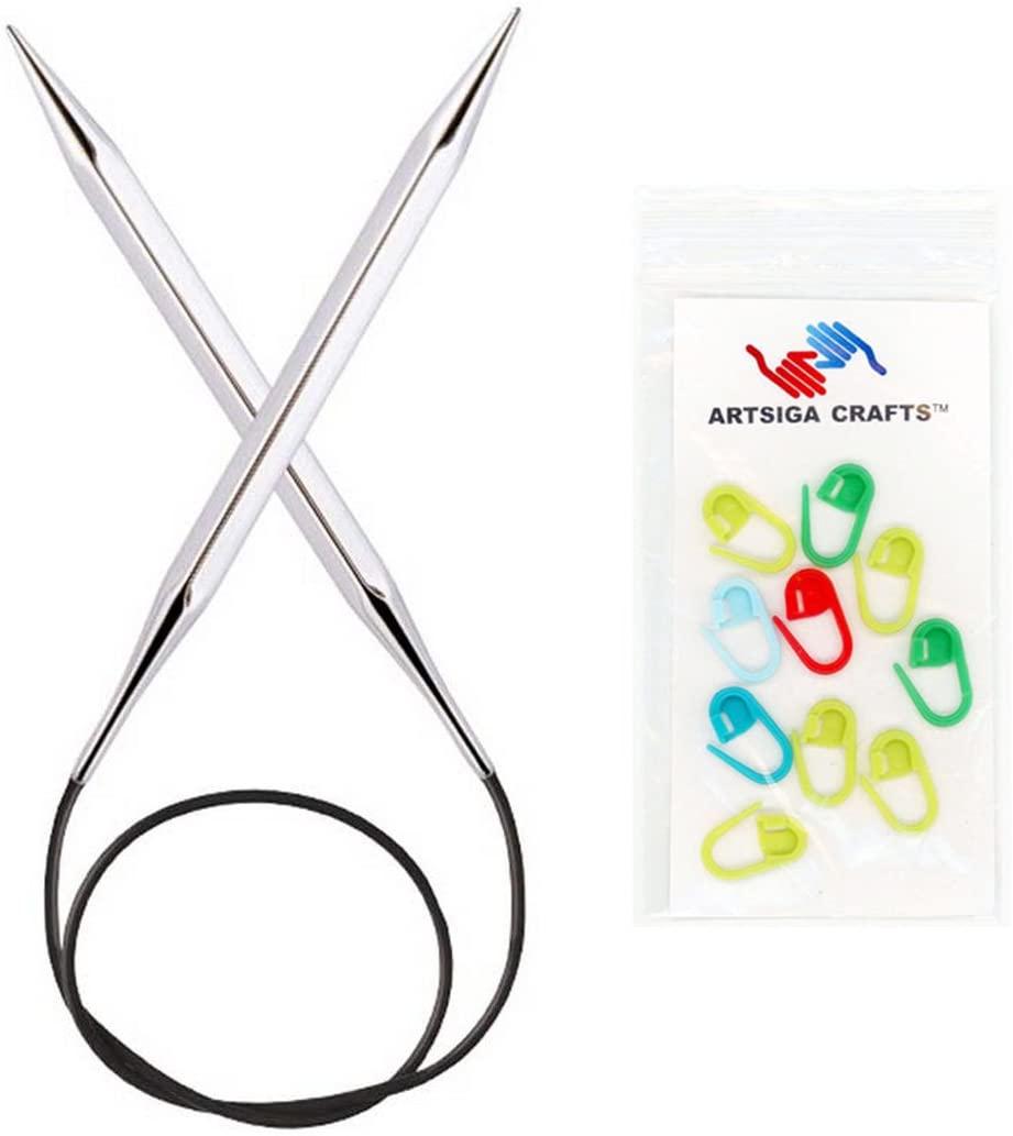 Knitters Pride Knitting Needles Nova Cubics Platina Circular 47 inch (120cm) Size 2.5 (3.0mm) Bundle with 10 Artsiga Crafts Stitch Markers 320293