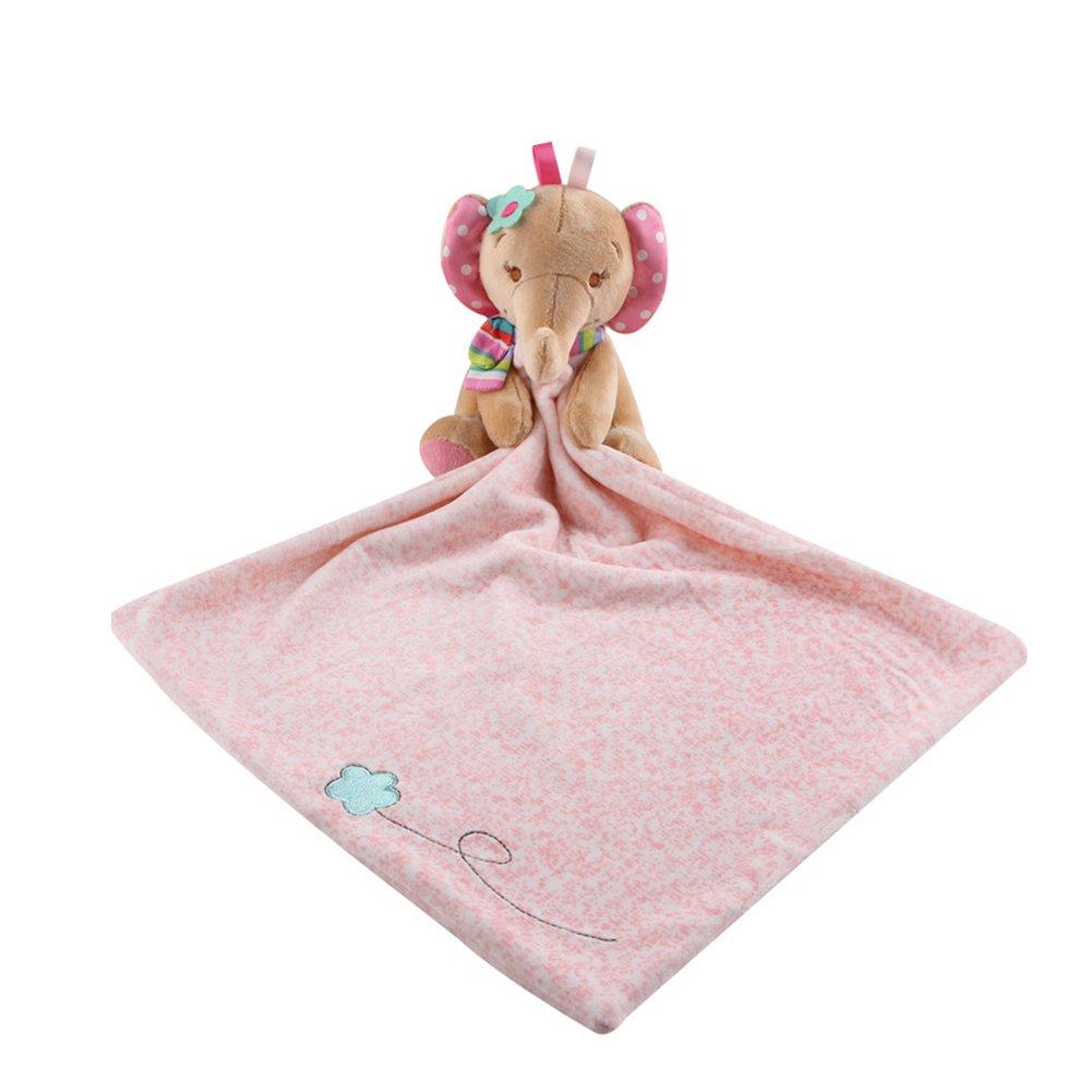 LETTON Toys Elephant Snuggler,Baby Blankie Plushy Security Blanket(Pink)