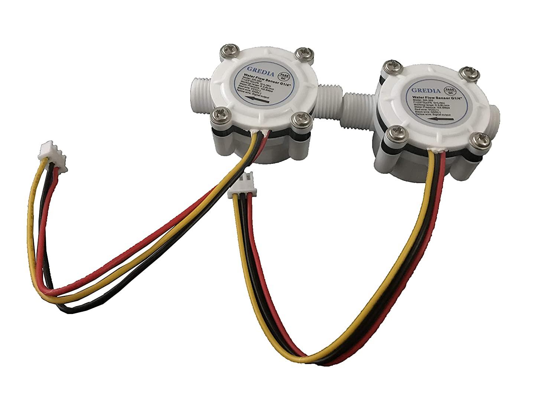 GREDIA 1/4 Water Flow Sensor Food-Grade Switch Hall Effect Flowmeter Fluid Meter Counter 0.3-6L/min (Pack of 2)