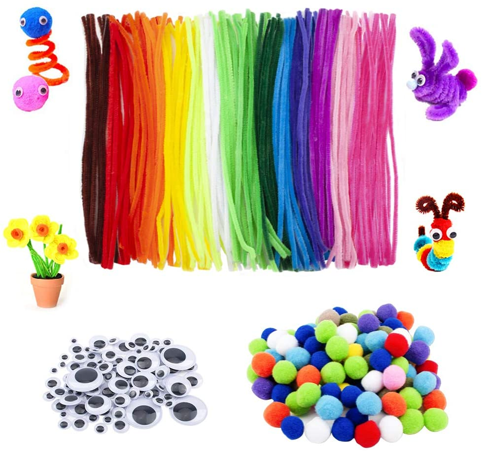 WANDIC Pipe Cleaners Supplies, Set of 300 Pcs, 100 Pcs Chenille Stems & 100 Pcs Wiggle Googly Eyes & 100 Pcs Pompoms, Supplies for DIY Art Crafts