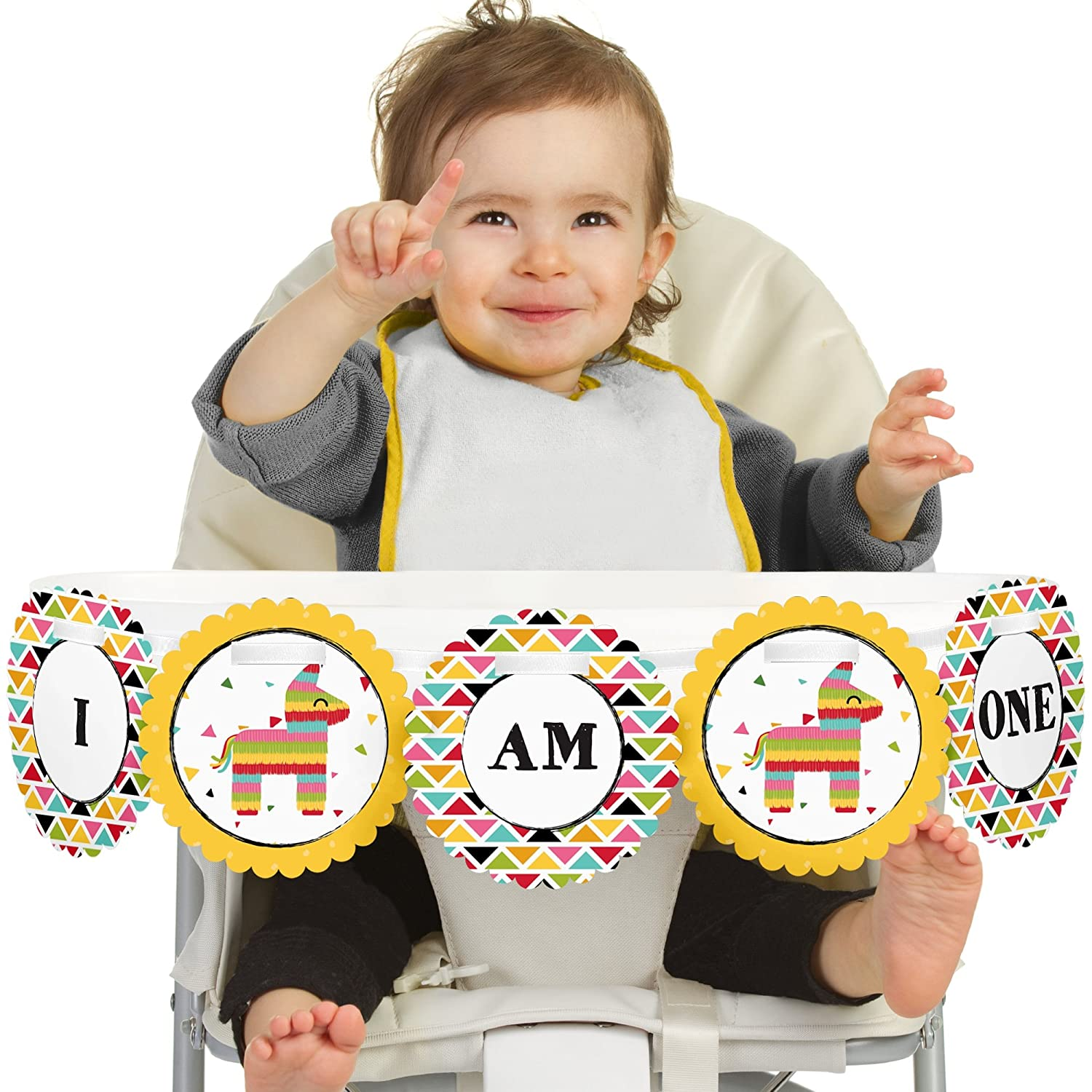 Big Dot of Happiness Let's Fiesta - Mexican Fiesta 1rst Birthday Highchair Decor - I Am One - First Birthday High Chair Banner