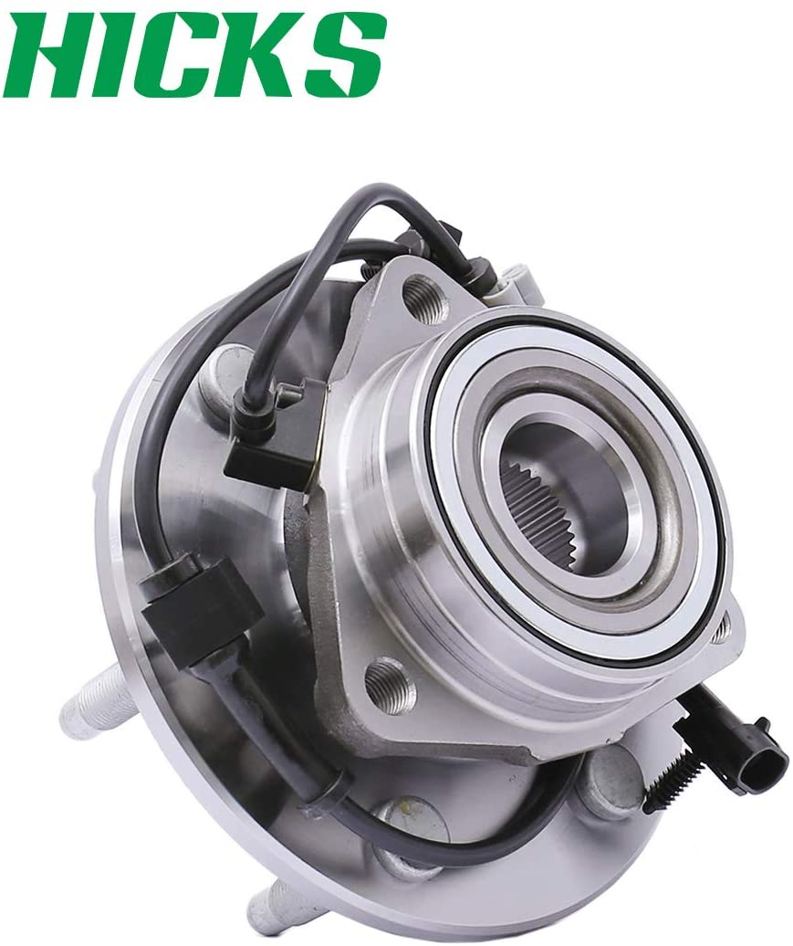 HICKS 515036 Front Wheel Bearing Hub Assembly (4WD ONLY) for Chevy Avalanche Express 1500 Tahoe Silverado 1500, GMC Yukon Sierra Savana 1500, Cadillac Escalade 6 Lugs W/ABS 4WD Only, Set of 1