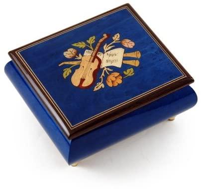Inspiring Royal Blue Music Theme with Violin Wood Inlay Music Box - Many Songs to Choose - Beautiful Dreamer