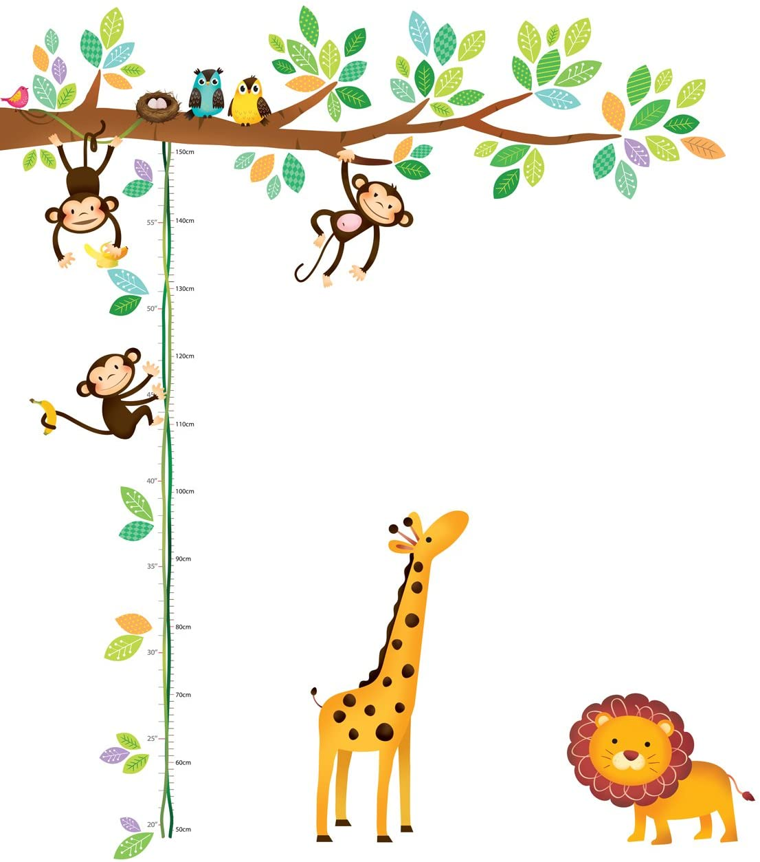 Decowall DW-1402 Little Monkeys Tree and Animals Height Chart Kids Wall Decals Wall Stickers Peel and Stick Removable Wall Stickers for Kids Nursery Bedroom Living Room