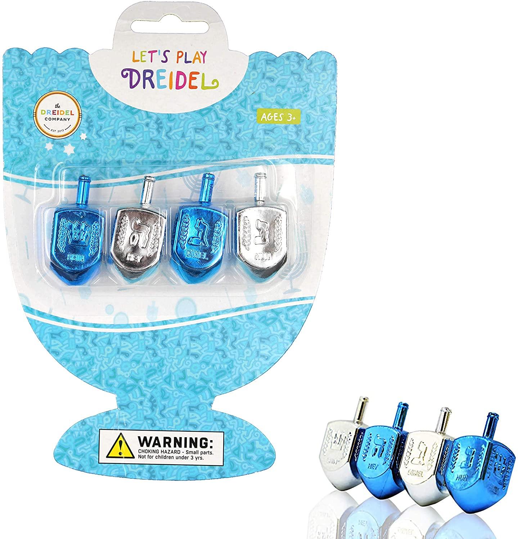 Hanukkah Plastic Silver & Blue Metallic Dreidels with Foil Embossed Hebrew Letters & English Transliteration - Includes Dreidel Game Instruction on Back of Blister Pack (4-Pack)