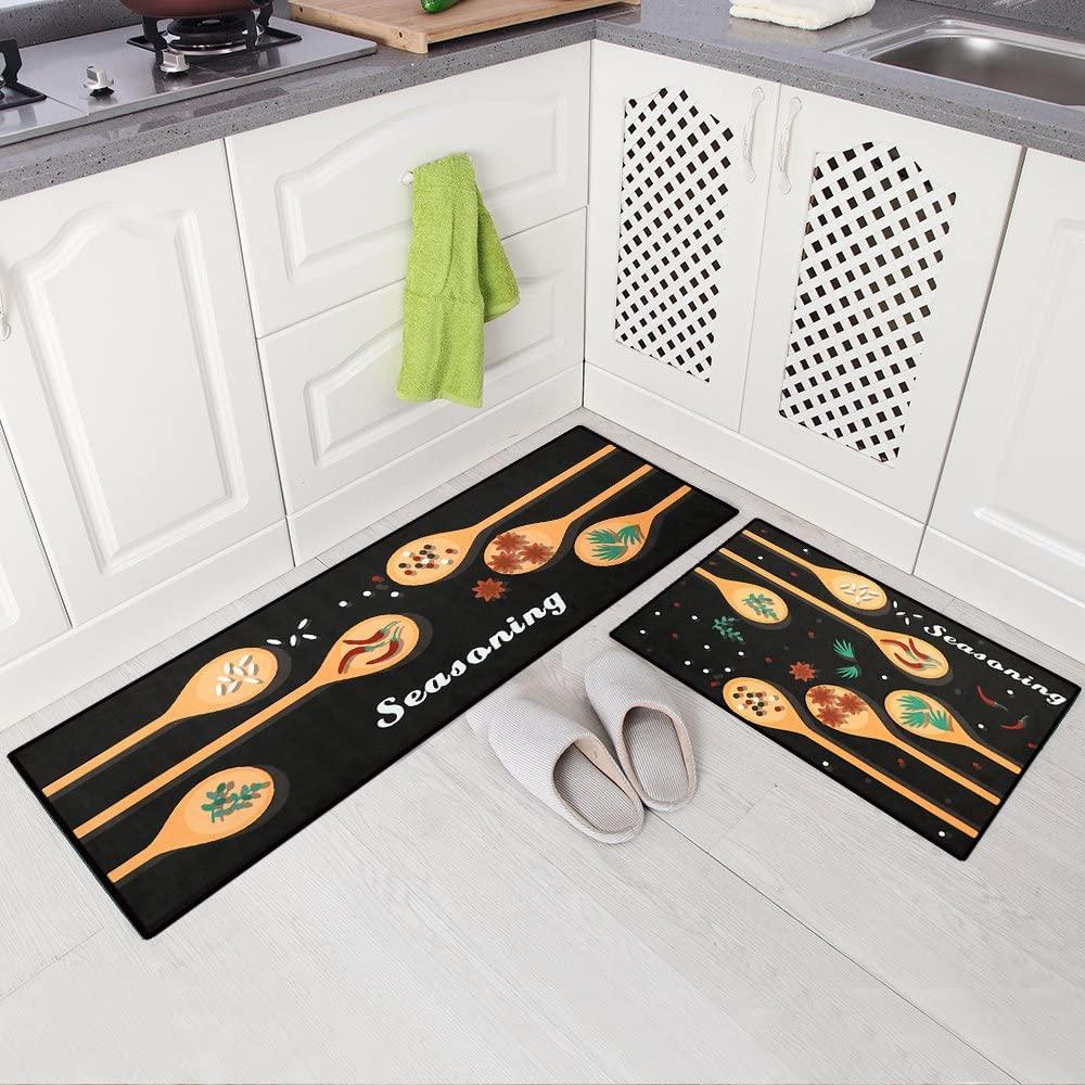 Carvapet 2 Piece Non-Slip Kitchen Mat Doormat Runner Rug Set, Spice Design (15