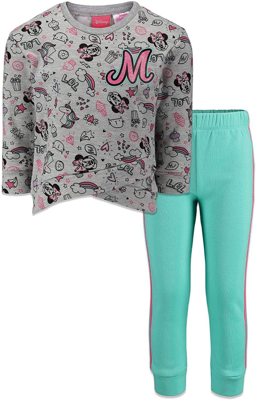 Disney Minnie Mouse Girls' Long Sleeve Fleece Sweatshirt Top & Leggings Set