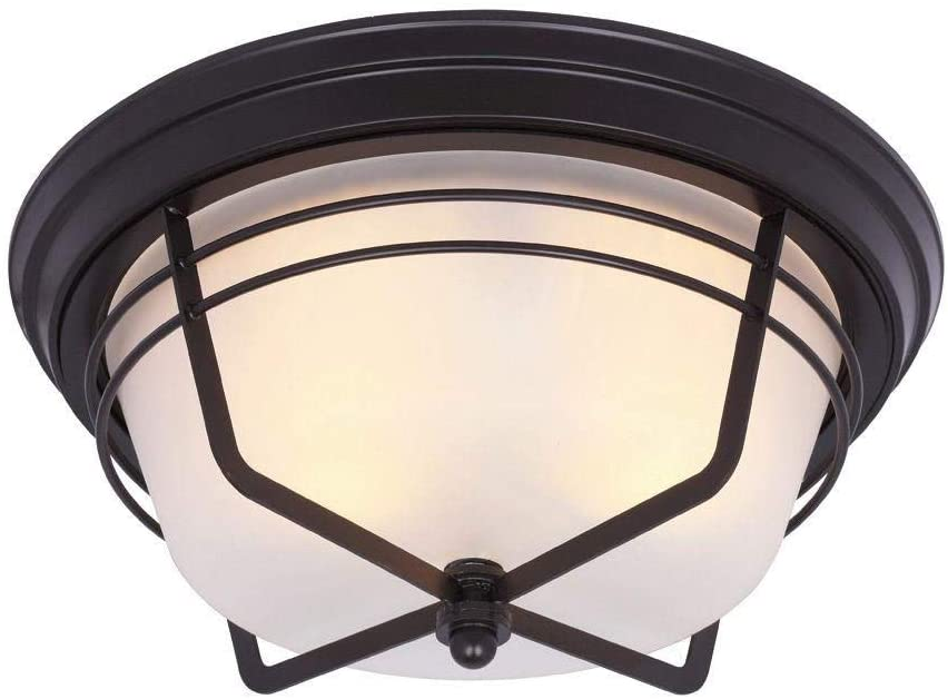 Ciata Lighting Bonneville 2 Light Weathered Bronze Finish Outdoor Flush mount Fixture on Steel with Frosted Seeded Glass