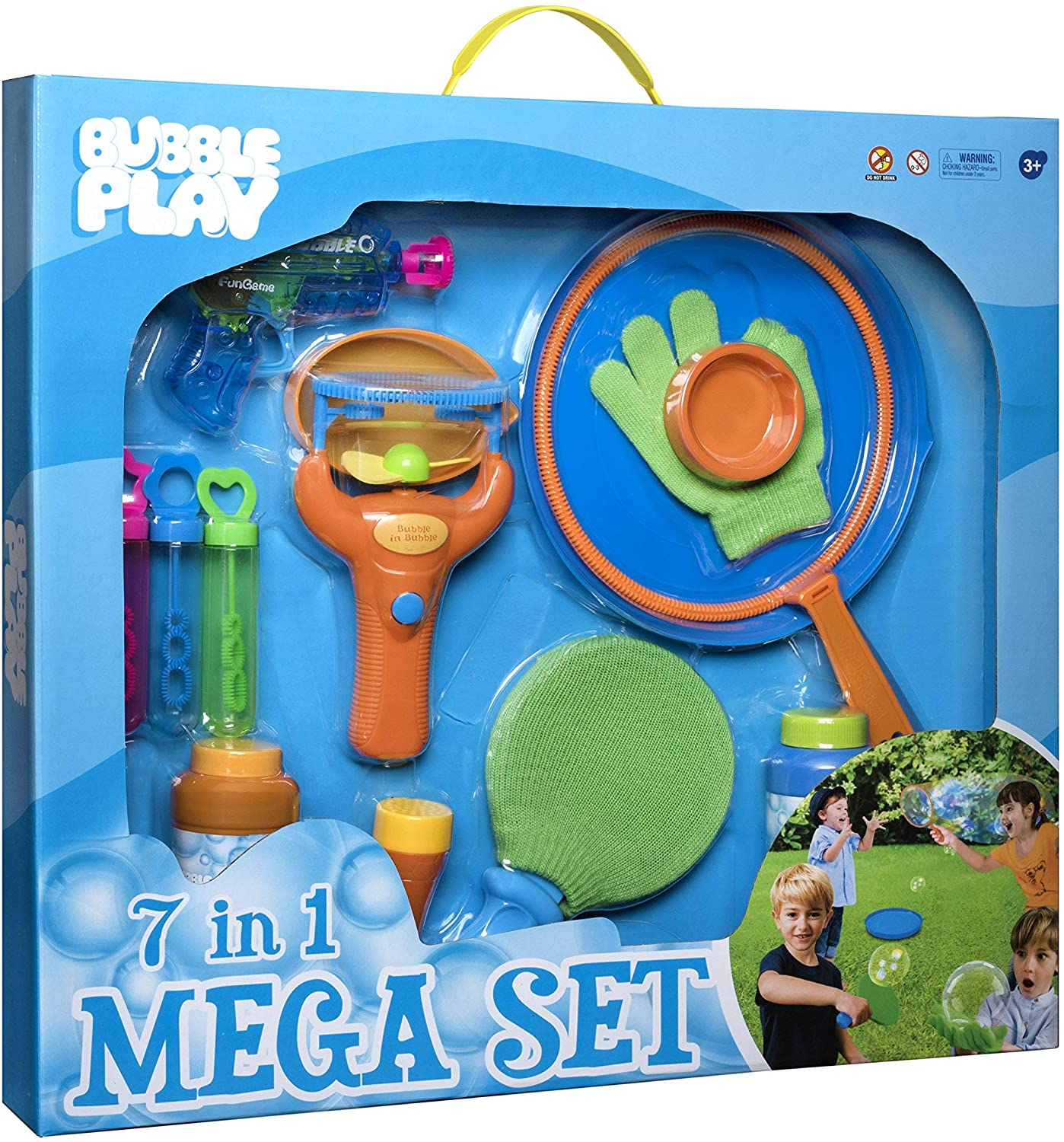 Bubble Play 7-in-1 Magic Bouncing Bubble Mega Set Includes [3] Mini Blowers, [2] 8oz Solution Refills, Blaster Gun, Handheld Fan, Jumbo Wand, Bouncy Game Paddle, Glove, Blower Tool, Trays & More