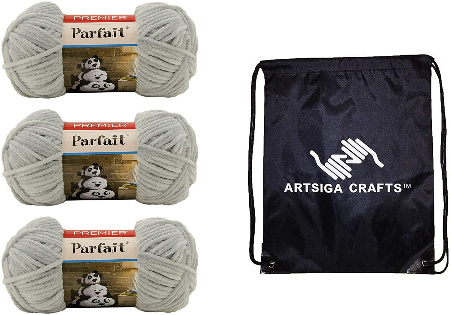 Premier Knitting Yarn Parfait Solid Pale Gray 3-Skein Factory Pack (Same Dye Lot) 30-26 Bundle with 1 Artsiga Crafts Project Bag