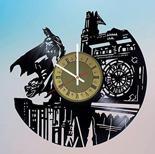 STP Cat Gotham City Batman Vinyl Wall Clock - Handmade Artwork Home Bedroom Living Kids Room Nursery Wall Decor Great Gifts idea for Birthday, Wedding, Anniversary - Customize Your (Gold/White)