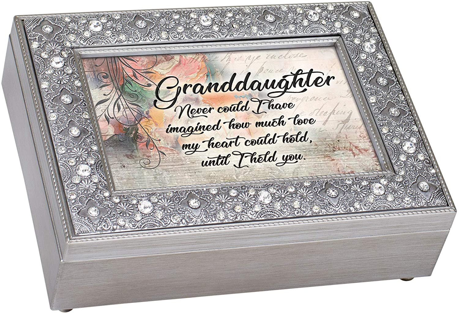 Cottage Garden Granddaughter Love My Heart Filigree Jewel Bead Silver Tone Music Box Plays Canon D