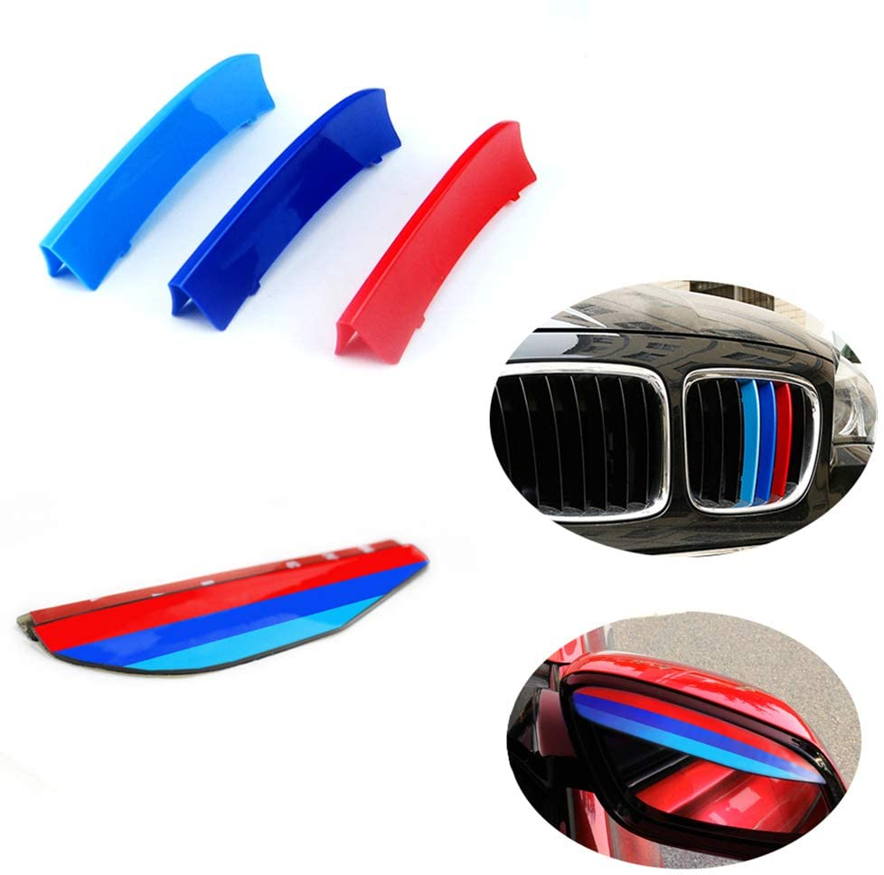 for BMW 09-15 X1 E84 (7Grilles) Stripe Grille Insert Trims M Sport Strips Center Kidney Grill Front Grille Trim Strips Grill Insert Decoration +Rear View Mirror Eyebrow Frame Rainproof 5Pcs