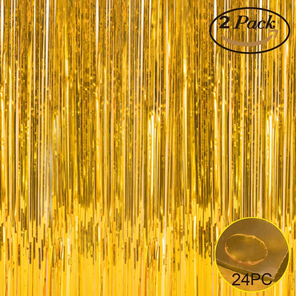 Foil Fringe Metallic Curtain Backdrops - with Balloon Sticks 3.3FTX6.6FT Tinsel Shiny Curtains Perfect for Photo Booth Party/Window/Door Decorative Fringe Curtains (Pack of 2) Gold