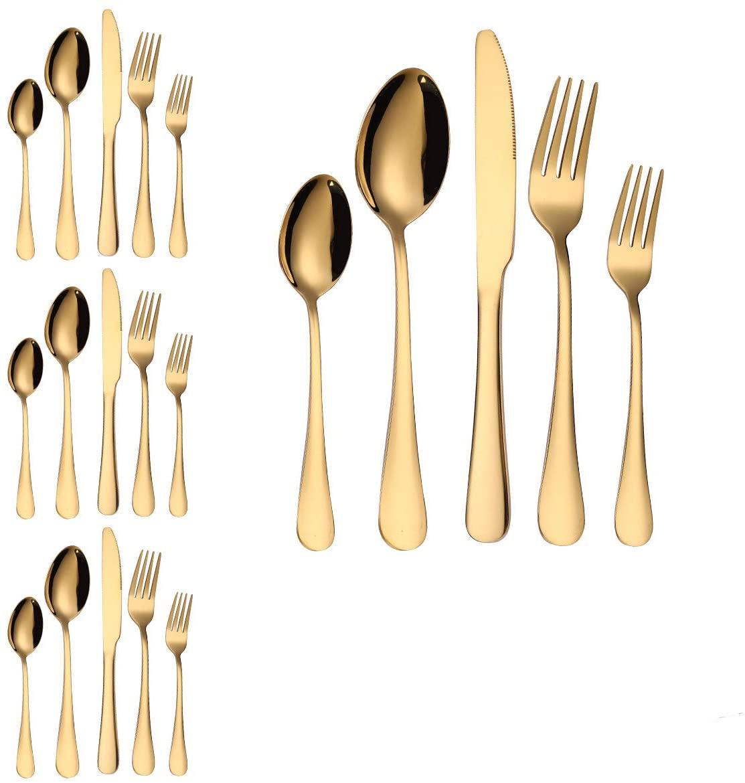shenjin 20pcs/Set Flatware Black Gold Dinnerware Cutlery Set Dinner Knife and Fork Set Tableware(Gold)