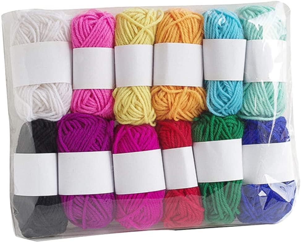 Artibetter 12pcs Crochet Knitting Yarn DIY Colorful Woven Line Yarn Handcraft Thread Skeins Household Handy Supplies for Women Ladies Beginner