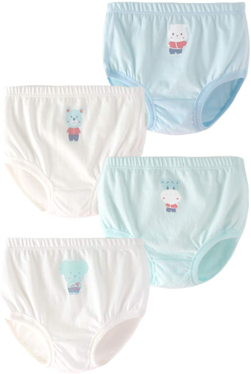 Toddler Girls Potty Training Pants Cotton Briefs Panties Comfort Breathable Undies Cute Cartoon Koala Cow White Blue Assorted 6M 12M 4-Pack