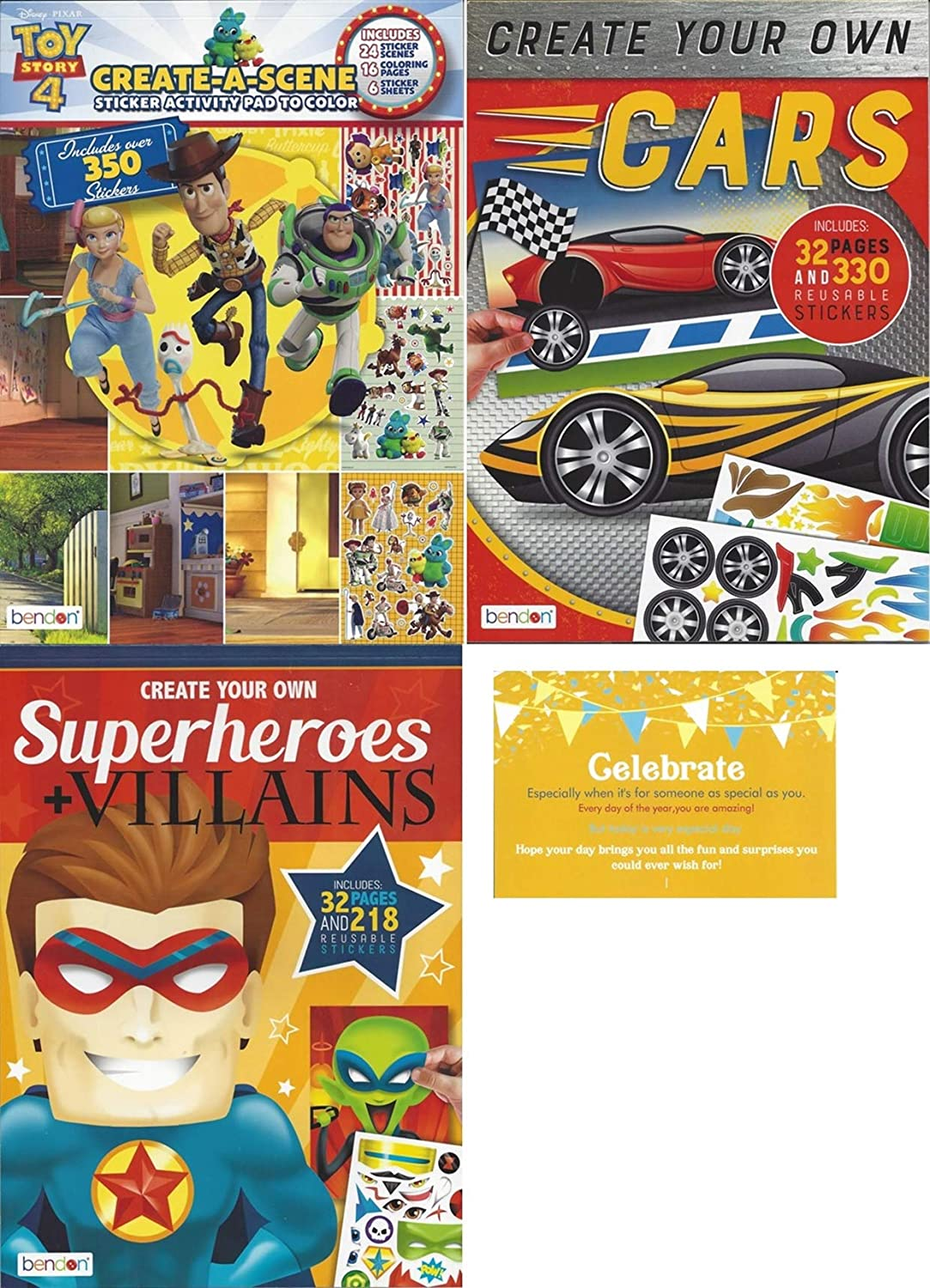 Create a Face Bundle with Celebrate Post Card. Includes 1 Toy Story Create a Scene, 1 Create Your Own Cars, 1 Create Your Own Superheroes and Villians