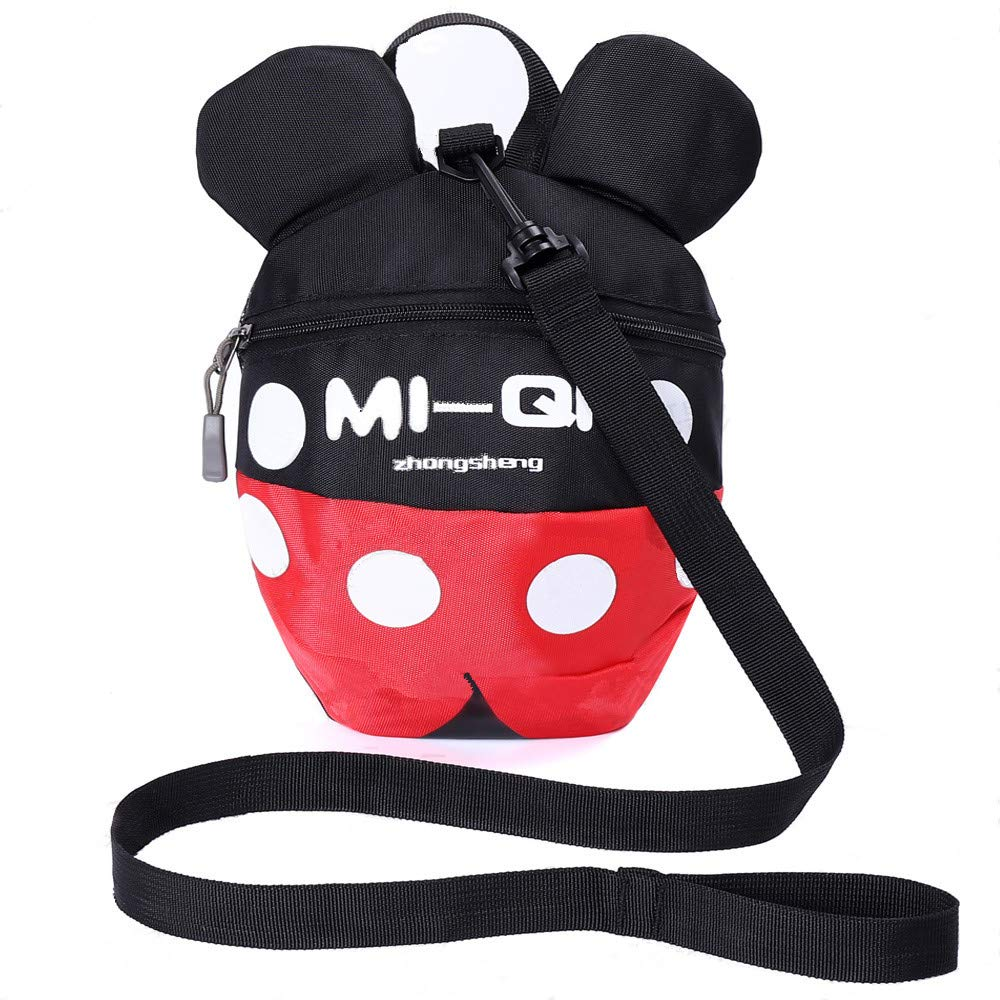Backpack Anti Lost Baby Toddler Walking Safety Backpack Little Kids Anti-Lost Travel Bag Harness Reins Cute Backpacks with Safety Leash for Baby Toddler Leash for Toddlers Age 1-5 Years (Black red)