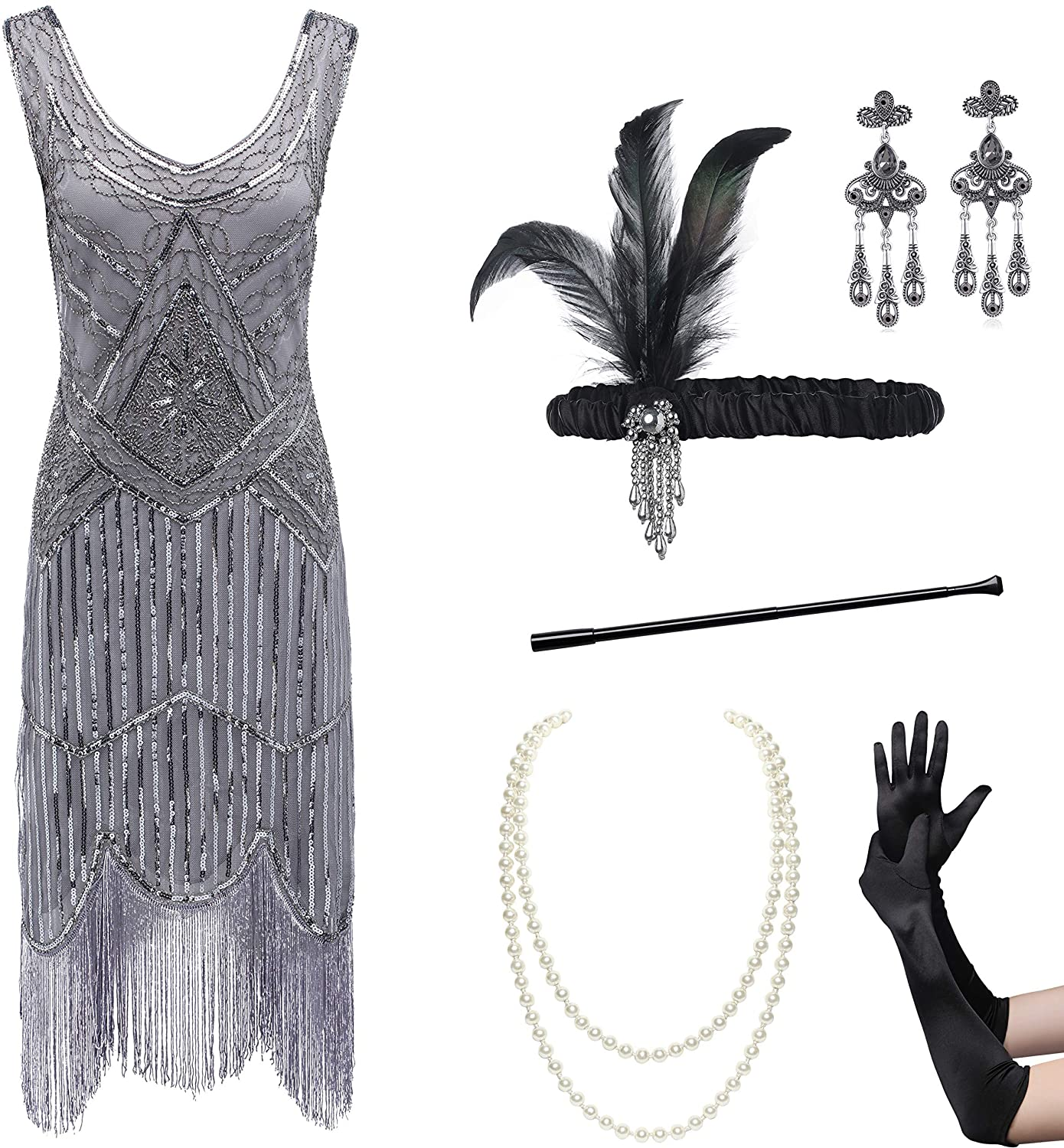 Coucoland Womens 1920s Flapper Sequin Beads Dress with Roaring 20s Gatsby Accessories Set for Party