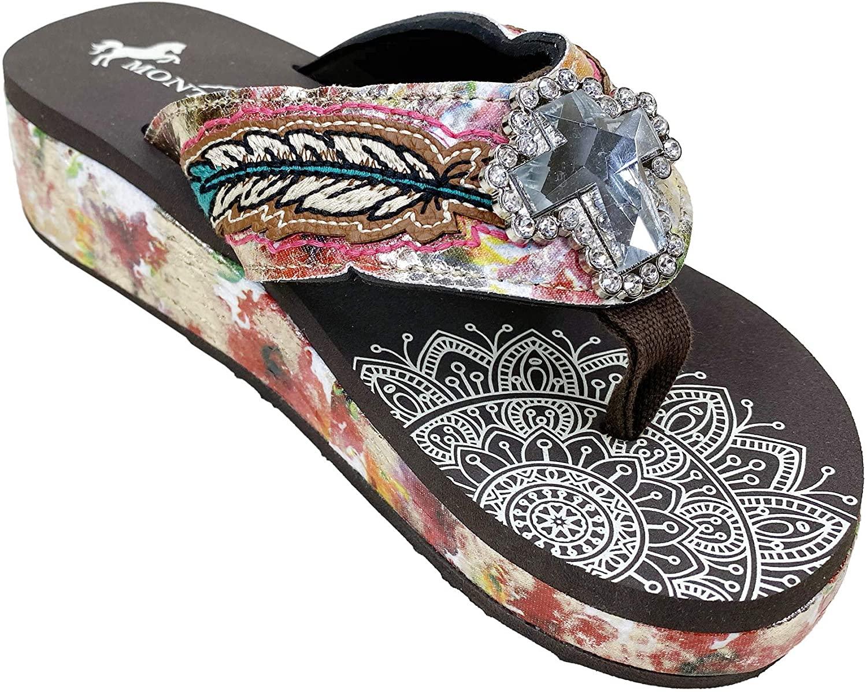 Montana West Rhinestone Flip Flops Rhinestones Wedge Flip Flops for Women Western Shoes Bling Crystal Buckle Sandals Pink Size 6- SEF05-S008 PK06