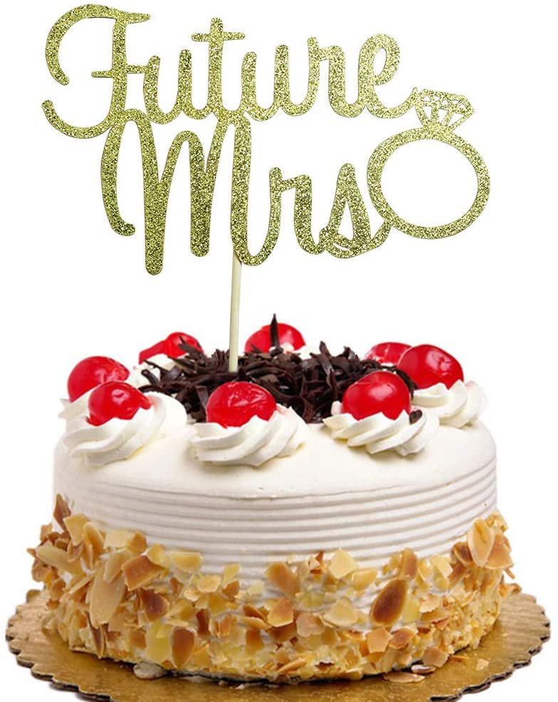 Future Mrs with Diamond Ring Cake Topper for Bridal Shower, Engagement, Bachelorette Party Decorations Gold Glitter