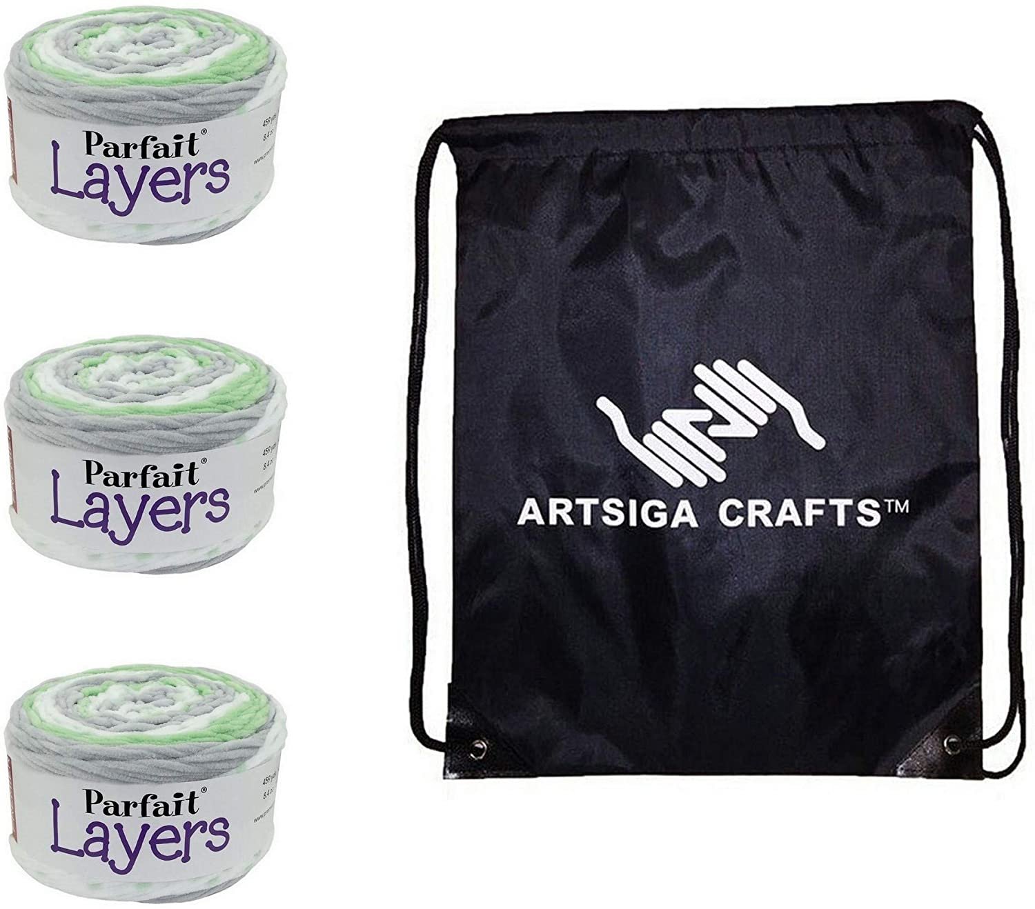 Premier Knitting Yarn Parfait Layers Pistachio 3-Skein Factory Pack (Same Dye Lot) 1070-14 Bundle with 1 Artsiga Crafts Project Bag
