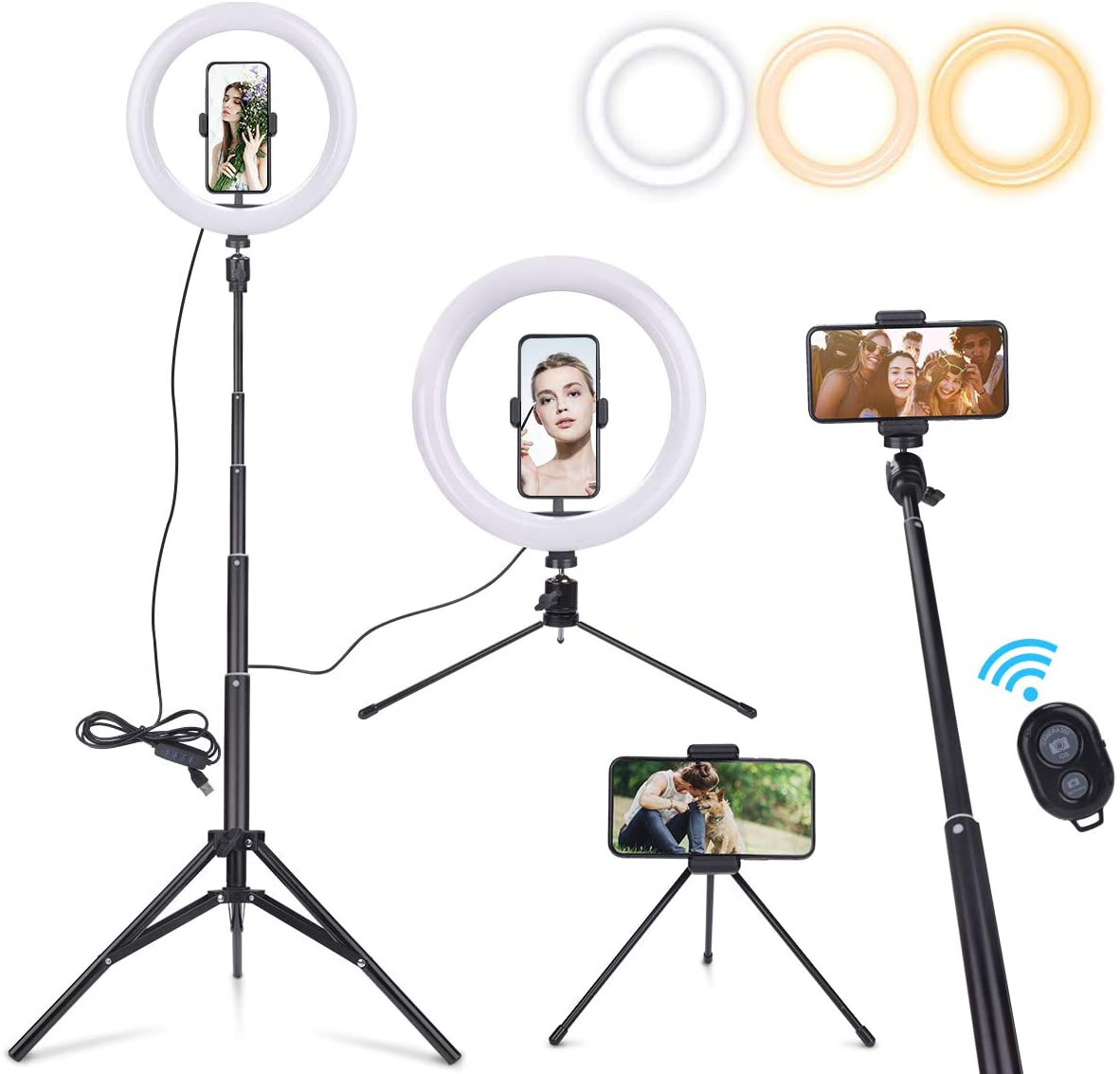 EVILTO 10 Selfie Ring Light with Adjustable Tripod Stand & Desktop Tripod Stand & Cell Phone Holder for Live Stream/Makeup, Dimmable LED Ringlight 3 Modes 10 Brightness Levels for TikTok/YouTube