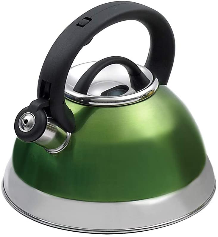 3-Quart Whistling Stainless Steel Metallic Chartreuse Tea Kettle Green Metal