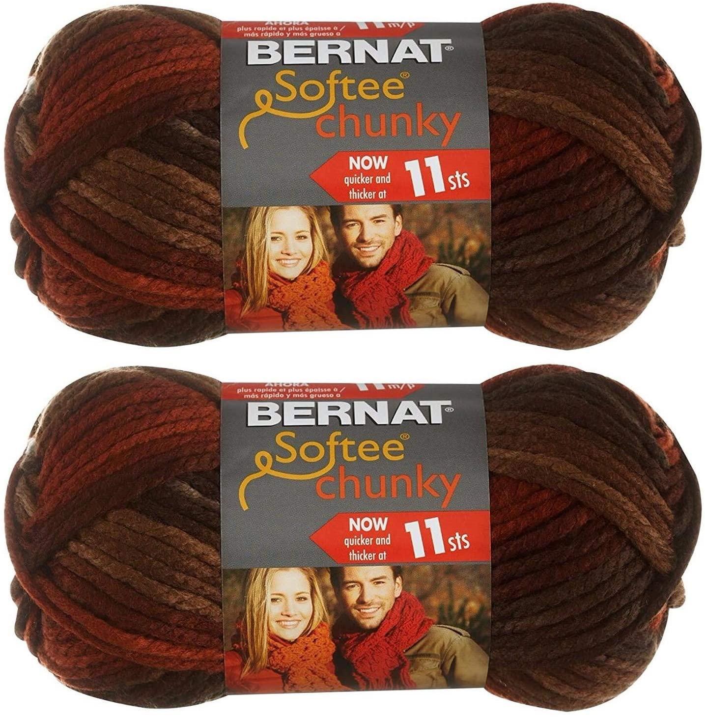 Bernat Softee Chunky Yarn 2-Pack Super Bulky #6 Each 2.8 Ounce 100% Acrylic (Terra Cotta Mist)