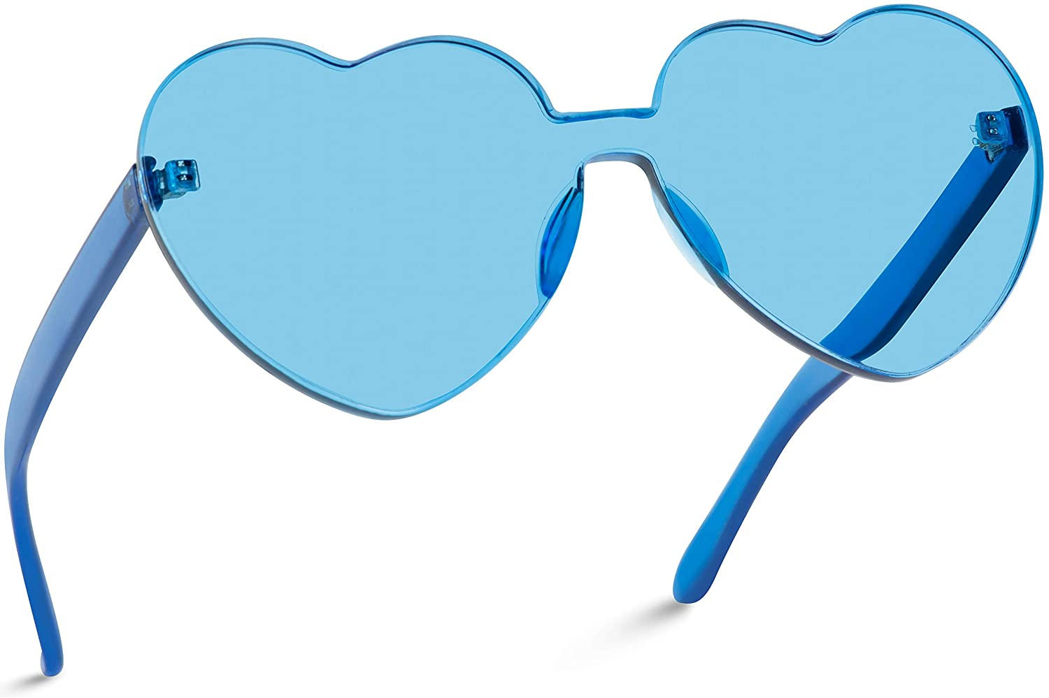 WearMe Pro - Heart Shaped One Piece Transparent Full Colored Frame Candy Sunglasses
