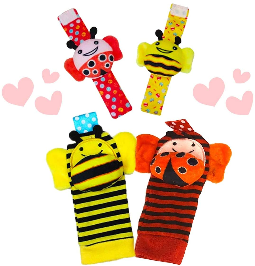 The Season Toys 4pcs Infant Baby Wrist Rattles and Foot Socks Developmental Toys – Ladybug/Bee