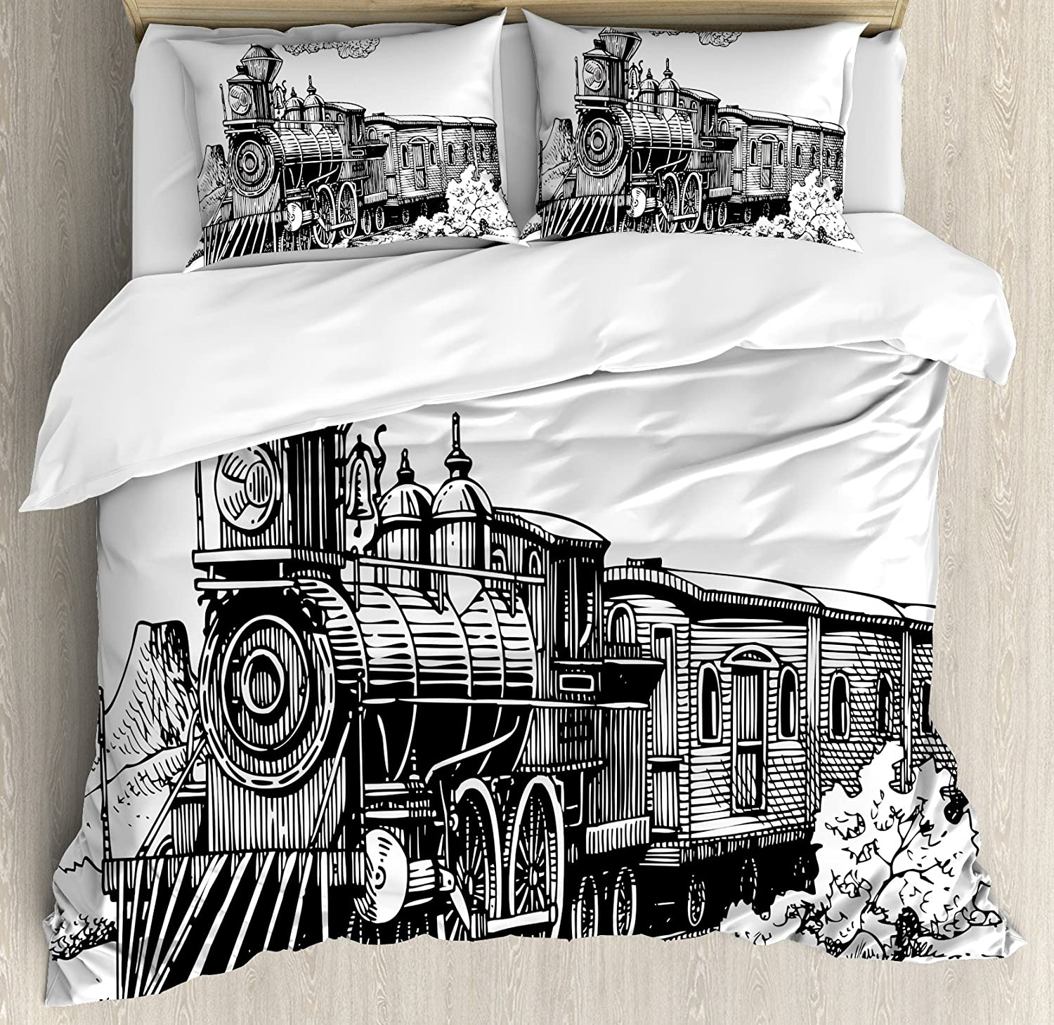 Ambesonne Steam Engine Duvet Cover Set, Rustic Old Train in Country Locomotive Wooden Wagons Rail Road with Smoke, Decorative 3 Piece Bedding Set with 2 Pillow Shams, King Size, Black and White