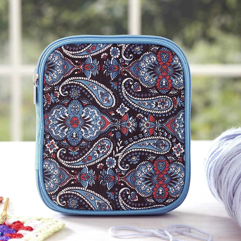 Crochet Accessory Organizer - Knitting Supplies Travel Case - Paisley