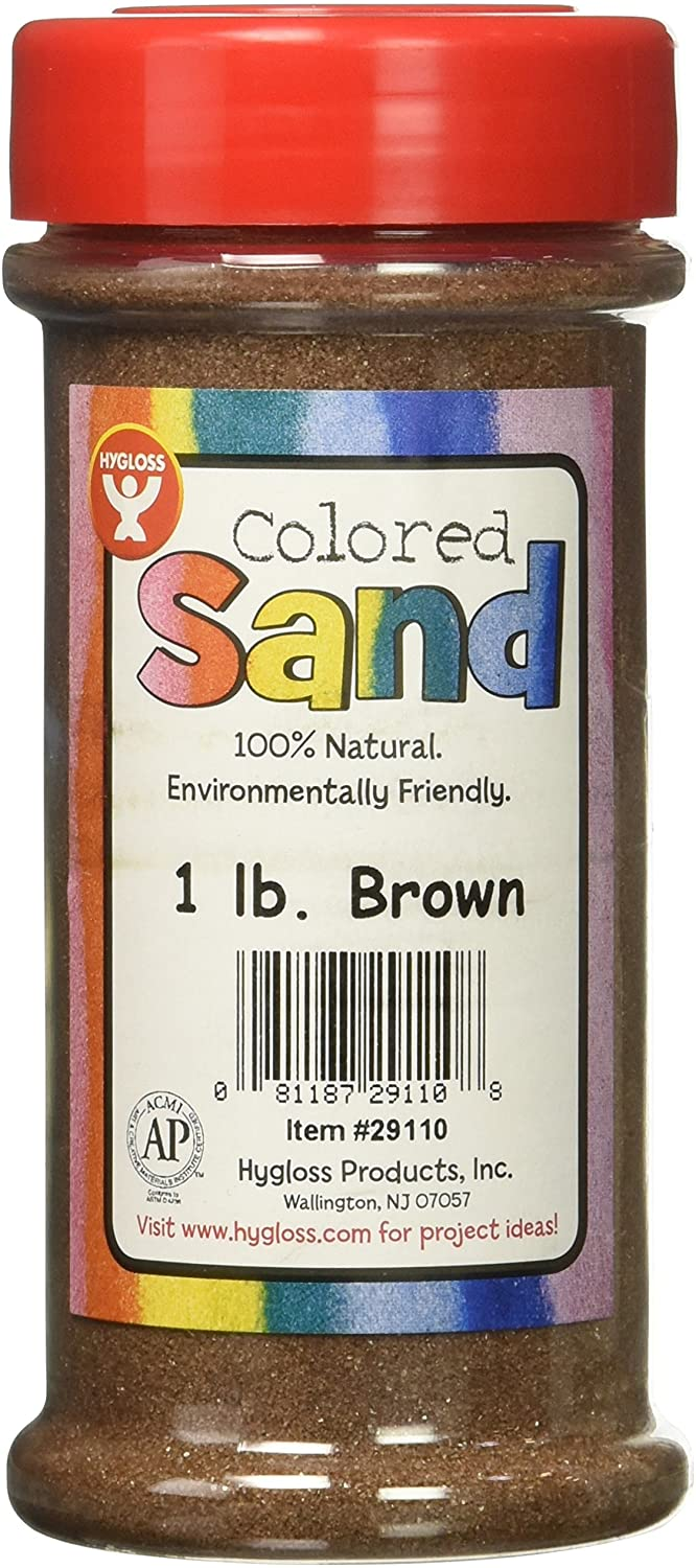 Hygloss Products Colored Play Sand - Assorted Colorful Craft Art Bucket O' Sand, Brown, 1 lb