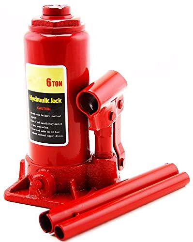 XtremepowerUS Heavy Duty Hydraulic Bottle Jack (6-Ton) Large Capacity Weight Lifting Equipment with Handle, Red