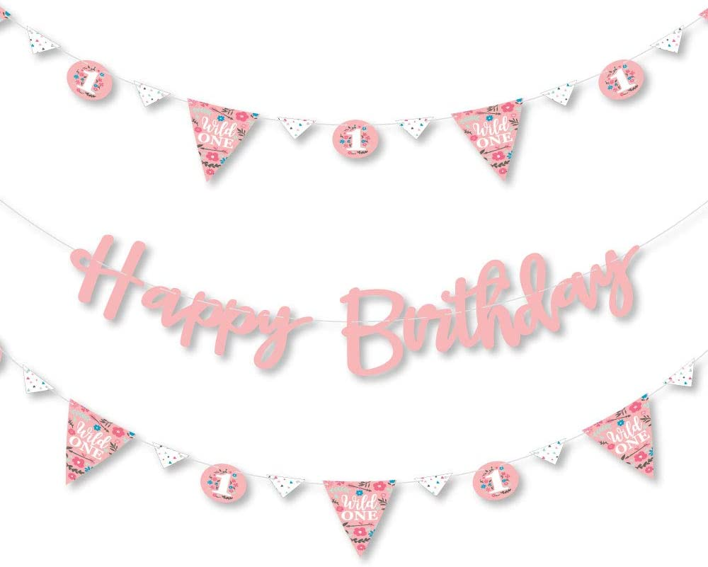 Big Dot of Happiness She's a Wild One - Boho Floral 1st Birthday Party Letter Banner Decoration - 36 Banner Cutouts and Happy Birthday Banner Letters