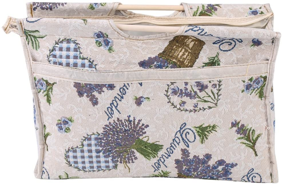 oenbopo Exquisite Wood Handle Fabric Storage Bag for Knitting Needles Sewing Tools (Blue Flower)