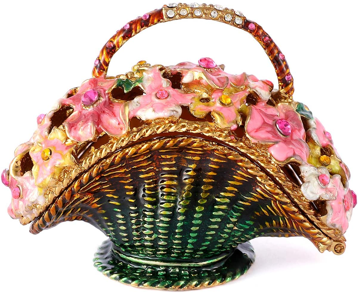 QIFU Flower Basket Series Hand Painted Hinged Jewelry Trinket Box with Rich Enamel and Sparkling Rhinestones Unique Gift Home Decor
