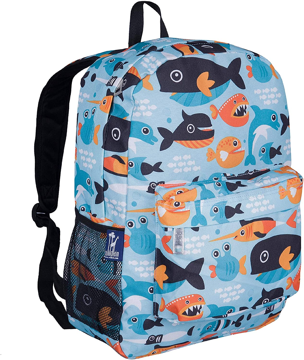 Wildkin Kids 16 Inch Backpack for Boys and Girls, Ideal Size for Kindergarten, Elementary, and Middle School, Perfect for School and Travel, 600 Denier Polyester, BPA-Free (Big Fish)